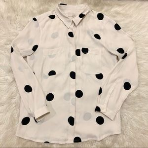 Loft Women's White Polka Dot Long Sleeve Blouse
